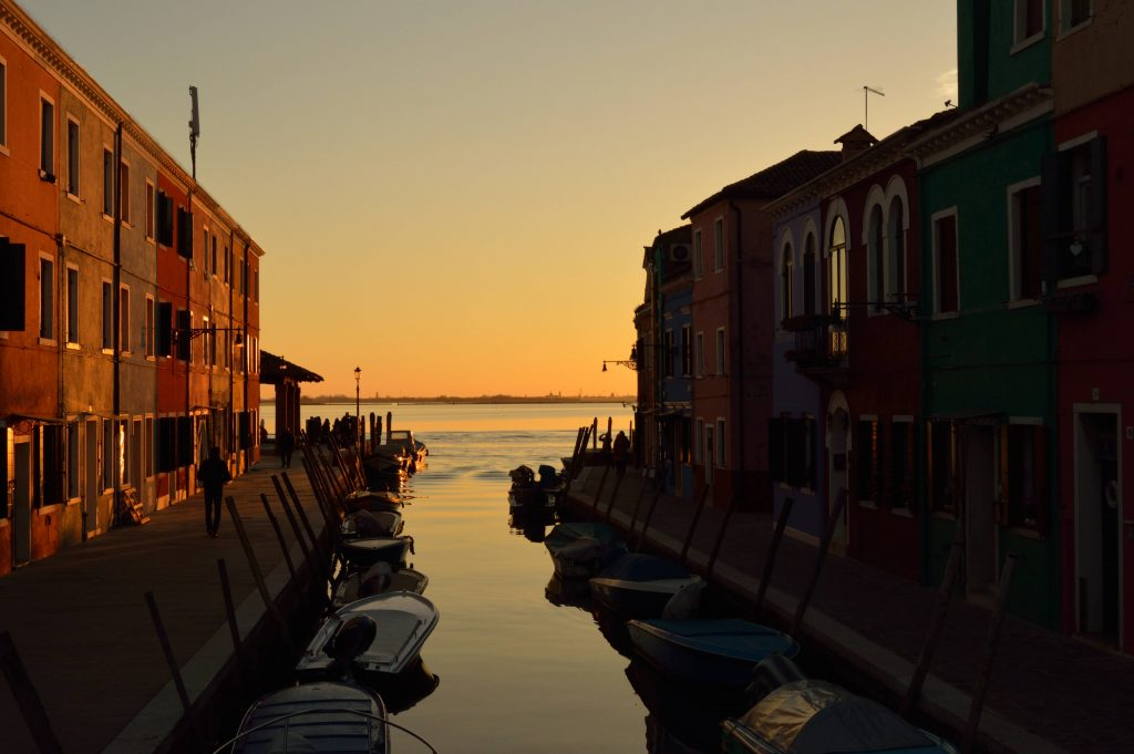 Venice lagoon sunset