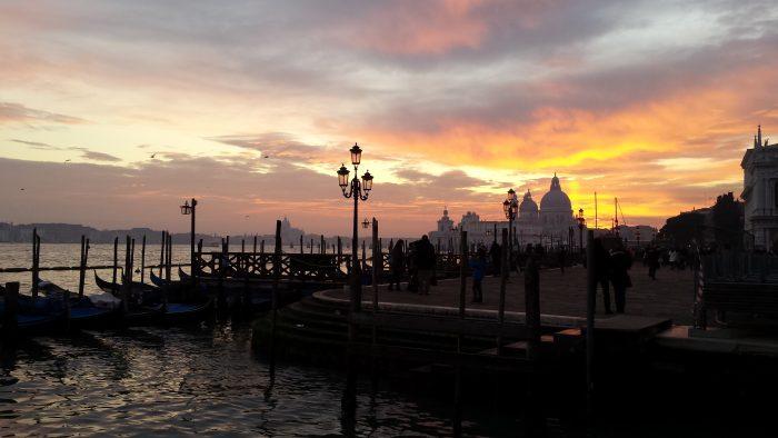 Sunset in Venice lagoon